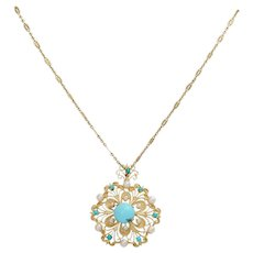 Vintage 14K Turquoise and Pearl Pendant Necklace