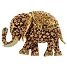 Large Vintage Ciner Rhinestone Crystal Elephant Brooch Pin
