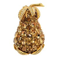 Large Vintage Ciner Gold Rhinestone Pear Fruit Brooch Pin