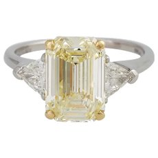 Vintage GRAFF 3,09 CT Fancy Yellow Diamond Ring
