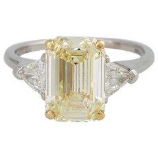 Vintage GRAFF 3,09 CT Fancy Yellow Diamond Ring