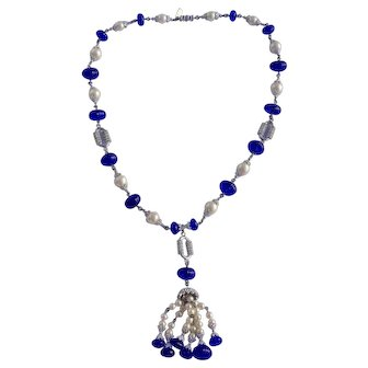 Kenneth J lane Vintage Faux Pearl and Blue Molded Glass Tassel Necklace
