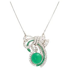 Art Deco 10.12 CT Columbian Emerald and Diamond 18K White Gold Pendant Necklace