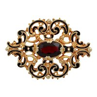 Vintage 14K Garnet and Black Enamel Brooch Pin