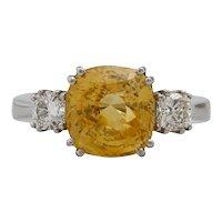 Vintage Natural Yellow Sapphire and Diamond Platinum Ring