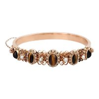 Victorian 14K Rose Gold Tiger's Eye and Seed Pearl Hinged Bangle