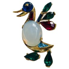 Rare Vintage Trifari Jelly Belly Duck Brooch Pin, Book Piece