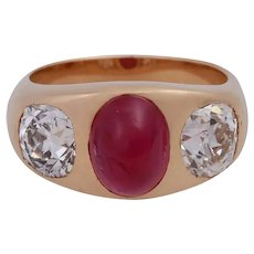 Vintage 18K Ruby and Old Mine Cut Diamond  Gypsy Ring