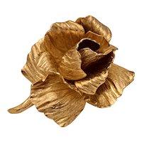 Vintage 1960s Christian Dior Goldtone Rose Brooch Pin