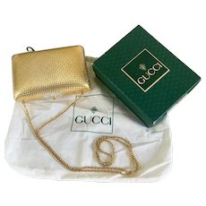 Gucci Vintage Gold Hard Case Evening Clutch Bag In Box with Dust Bag
