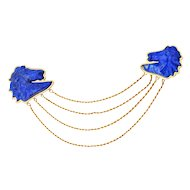 18KT Lapis Lazuli Double Horse Head Brooch Pin