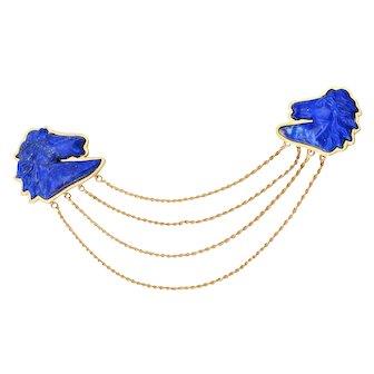 18KT Lapis Lazuli Double Horse Head Brooch Pin