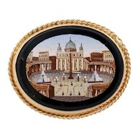 Large Antique Micro Mosaic Onyx Brooch 14K Yellow Gold Frame