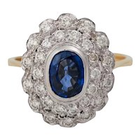 17K Edwardian Style Sapphire Diamond Cluster Engagement Ring