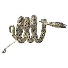 Antique Victorian 800 Silver Coiled Snake Bracelet
