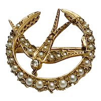 Antique 18K Seed Pearl and Diamond Swallow Bird In Crescent Brooch Pin