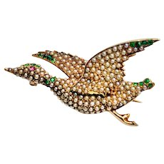 Antique 14KT Seed Pearl Demantoid Garnet and Ruby Flying Duck Brooch