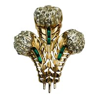 Vintage Rhinestone Crystal 'Prince of Wales' Feathers Brooch Pin Signed Coro