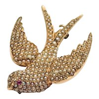 Antique 14KT Seed Pearl Ruby Flying Swallow Brooch