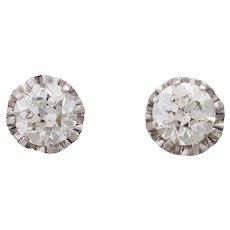 RARE Vintage 4 Ct Diamond Solitaire Platinum Stud Earrings