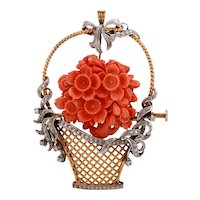 A 14KT Diamond and Coral Basket of Flowers