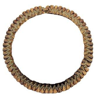 1950s BOUCHER Goldtone Rhinestone Swirl Necklace