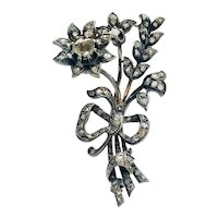Antique Victorian Diamond Silver Gold 'En Tremblant' Flower Spray Brooch