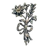 Antique Victorian Diamond Silver Gold 'En Tremblant' Flower Spray Brooch