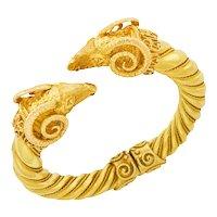 Gold Double Ram's Head Hinged Bangle Bracelet