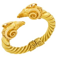 Gold Double Ram's Head Hinged Bangle Bracelet