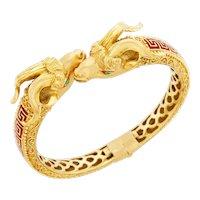 Vintage Gold and Enamel Capricorn Goats Head Hinged Bangle Bracelet