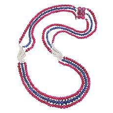 Vintage Triple Strand Platinum Ruby Sapphire Bead and Diamond  Necklace
