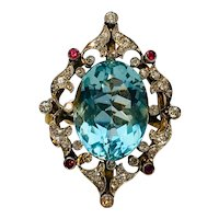 Antique 18KT Aquamarine Ruby and Diamond Cocktail Ring