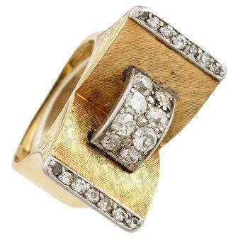 1940's Retro Old Cut Diamond 18K Gold Platinum Cocktail Ring