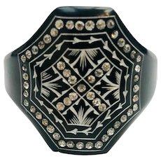 Vintage Art Deco Bakelite Diamante Cuff