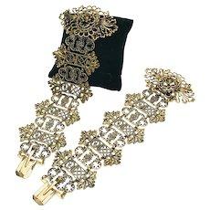 Vintage Pair of 18KT Yellow Gold Open Cut Link Bracelets