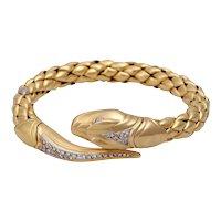 CHIMENTO 18KT Yellow Gold and Pave Set Diamond Flexible Snake Bracelet