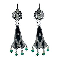 Art Deco Platinum Diamond Onyx Pearl and Emerald Chandelier Earrings