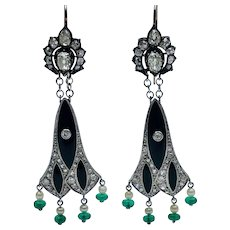 Art Deco Platinum Diamond Onyx Pearl and Emerald Chandelier Earrings