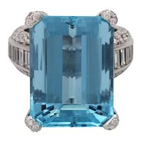 Vintage 18KT Carl BUCHERER 24 Ct Aquamarine and Diamond Ring