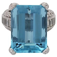 Vintage 18KT Carl BUCHERER 24 Ct Aquamarine and Diamond Ring