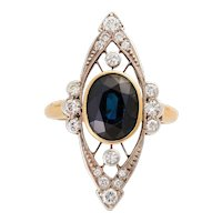 Art Deco 14KT Sapphire and Diamond Ring