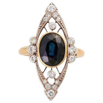 Art Deco 14KT Sapphire and Diamond Ring