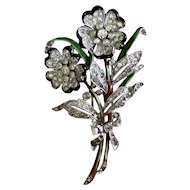 Early 1940s Trifari Large Enamel Rhinestone Flower Fur Clip Pin Brooch