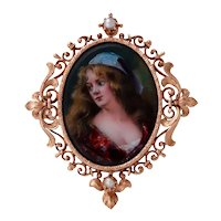 Antique 14KT Rose Gold Painted Enamel Woman Brooch