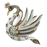 Vintage Crown Trifari White Enamel Rhinestone Swan Bird Brooch