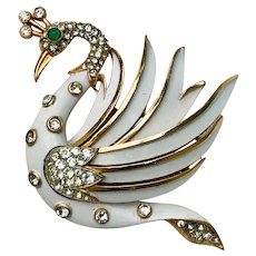 Vintage Crown Trifari White Enamel Rhinestone Swan Bird Brooch