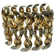 Rare Vintage TRIFARI  Alfred Phillipe Goldtone Rhinestone Link Bracelet