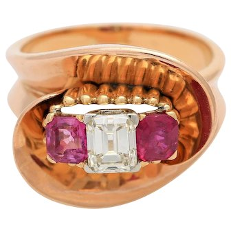1940s 18KT Rose Gold Diamond and Ruby Cocktail Ring