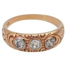 Victorian 14KT Rose Gold 3 Old Cut Diamond Band Ring